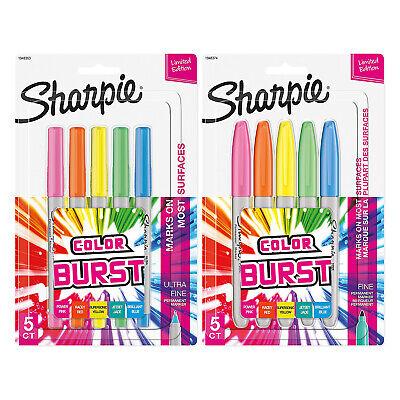 Sharpie Color Burst Permanent Markers 5pk Fine Point 5pk Ultra Fine Point Ast.