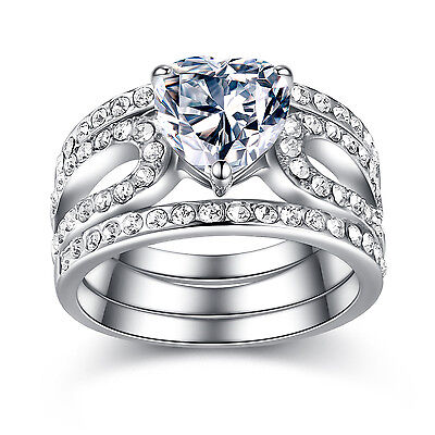3 Piece Stainless Steel Heart Shape CZ Wedding Engagement Ring Band Set