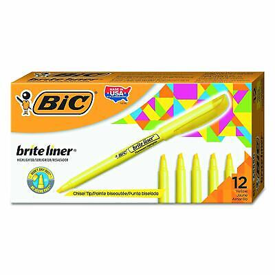 Bic Brite Liner Highlighter Chisel Tip Yellow 12-count New