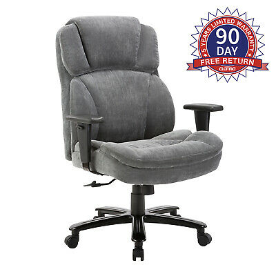 Ergonomic Big Tall Executive Office Chair With Upholstered Swivel 400lbs Gray