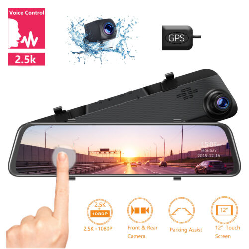 "TOGUARD 12"" 2.5K Mirror GPS Dash Cam Voice Control Rear View Touch Car Camera US"