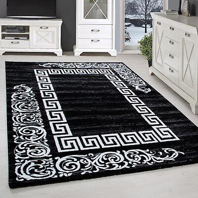 Designer Rug Versace Border Short-Pile Baroque Style Mottled Black White