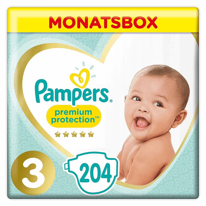 Pampers Premium Protection Windeln, Gr.3, 6-10kg, Monatsbox, 1er Pack (1 x 204 S