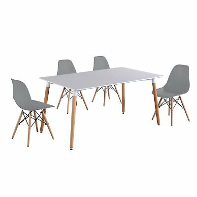 Desk+4 Chairs Mid Century Modern Ergonomic Dining Living Room Square Table Wood Dining Room Living Room Desk