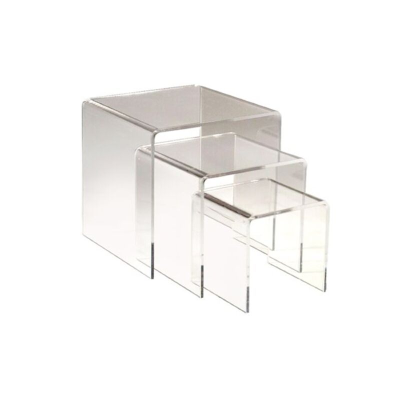 """3pc Clear Acrylic Riser Set of 3 Displays 3"""" 4"""",5"""" Retail Jewelry Display Stands"""