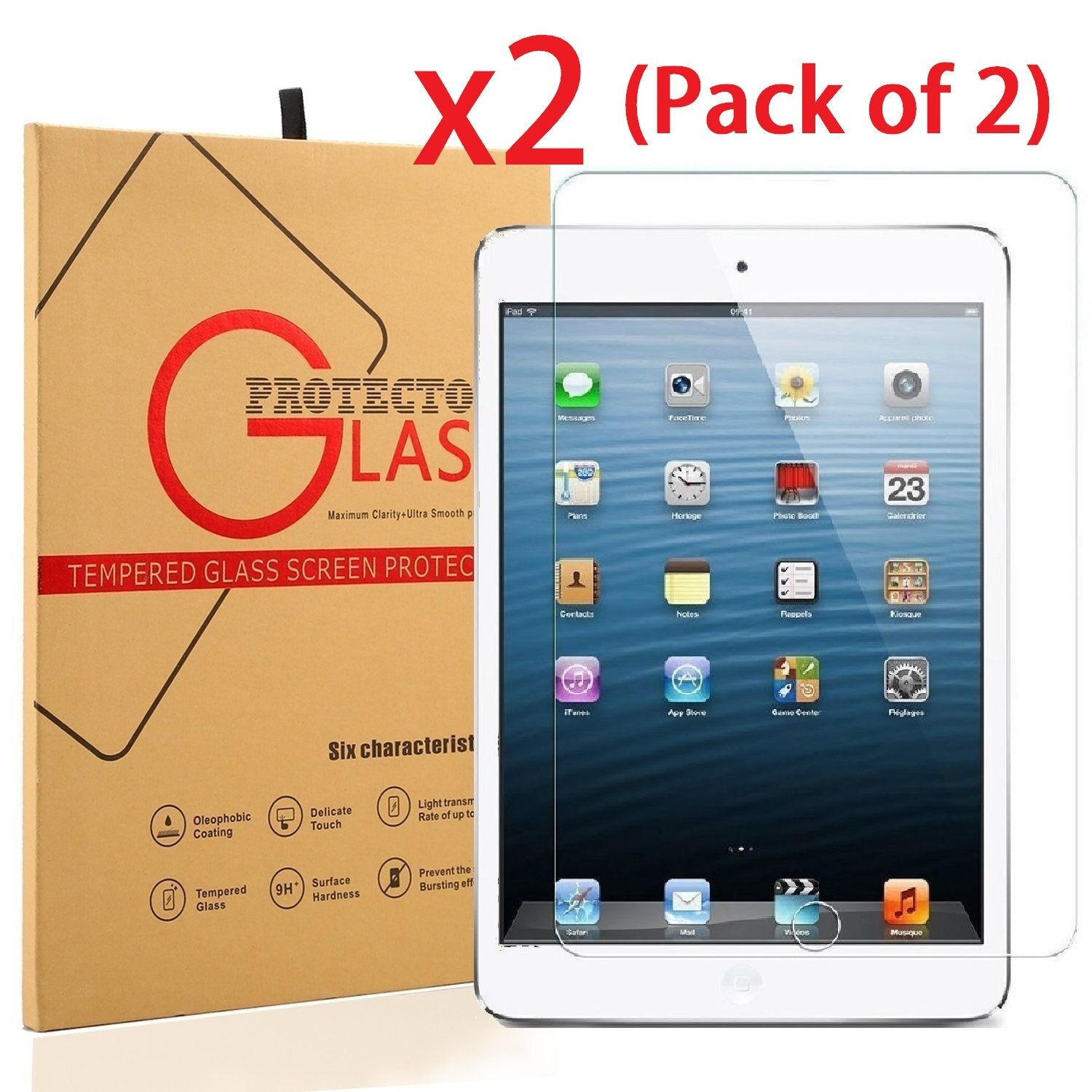2-Pack Tempered Glass Screen Protector For Apple iPad Air 20