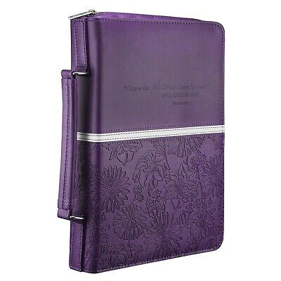 Purple Bible Cover (Floral Embossed Bible / Book Cover - Jeremiah 29:11 (Large, Purple))
