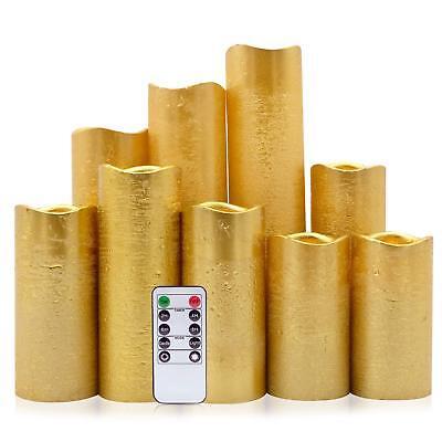 Gold Pillar - Eldnacele Flameless Candles Flickering LED Gold Pillar Candles Warm White Set of