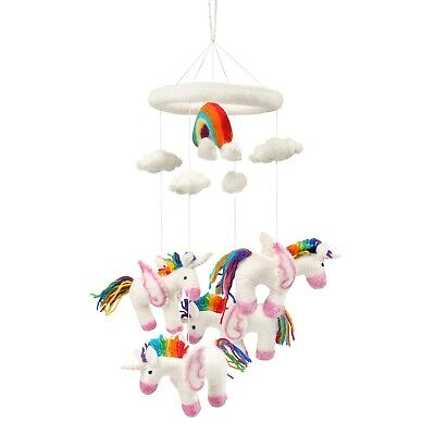 What on Earth Unicorn Baby Crib Mobile - Wool Felt Rainbow Unicorns & Clouds