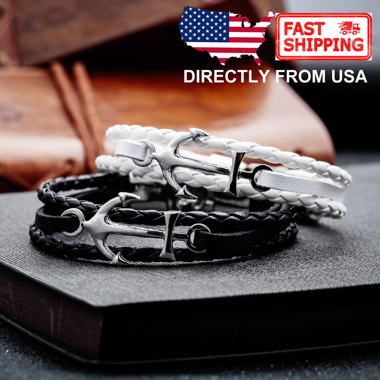 Men's Anchor and Braided Leather Sailor Bracelet Bracelets