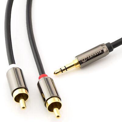 10m Audio Kabel 3,5 mm Klinke auf 2x Cinch RCA Chinch zu AUX Klinke Stecker Jack