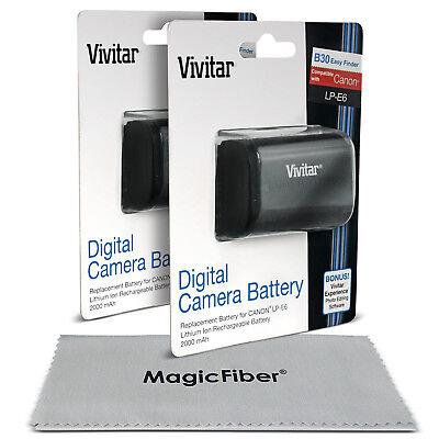 2 Pack Vivitar LP-E6 Battery for Canon EOS 5D Mark III II 6D 60D 7D Mark II 70D