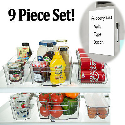 Refrigerator Organizer Bins Stackable Fridge Storage Containers + 8x12 Magnetic (Stackable Containers)