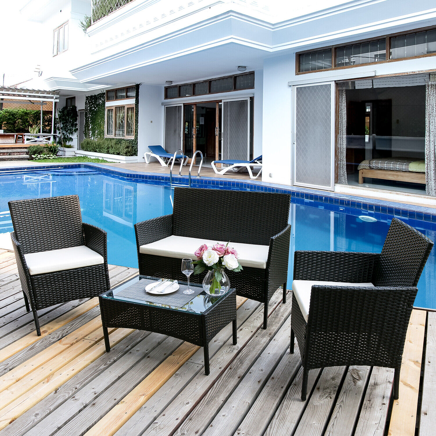 Garden Furniture - Garden Rattan Furniture Set Outdoor Indoor Conservatory Set Table Sofa 4 PCS