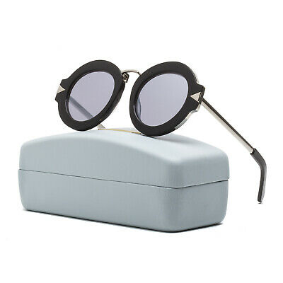 Karen Walker Superstars Maze Round Womens Sunglasses Black Silver Mirrored Lens