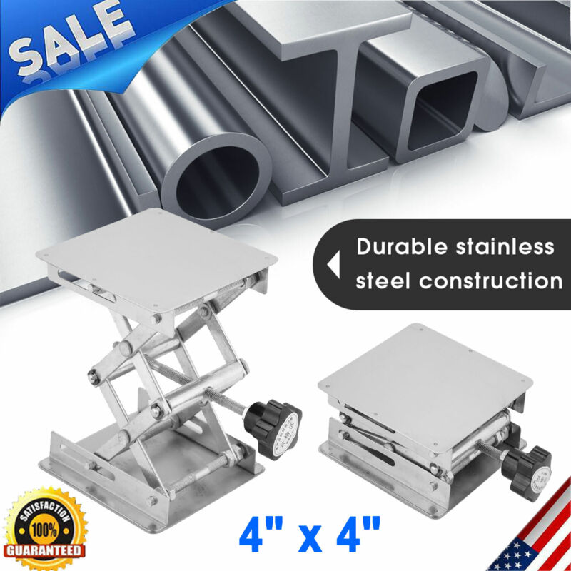 "4"" Stainless Steel Lifting Platform Lab Lifter Stand Rack Scissor Lab Jack USA"