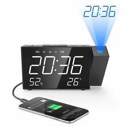 Phiseco Projection Digital FM Radio Dual Alarm Clock - 6.5 USB Charging Port