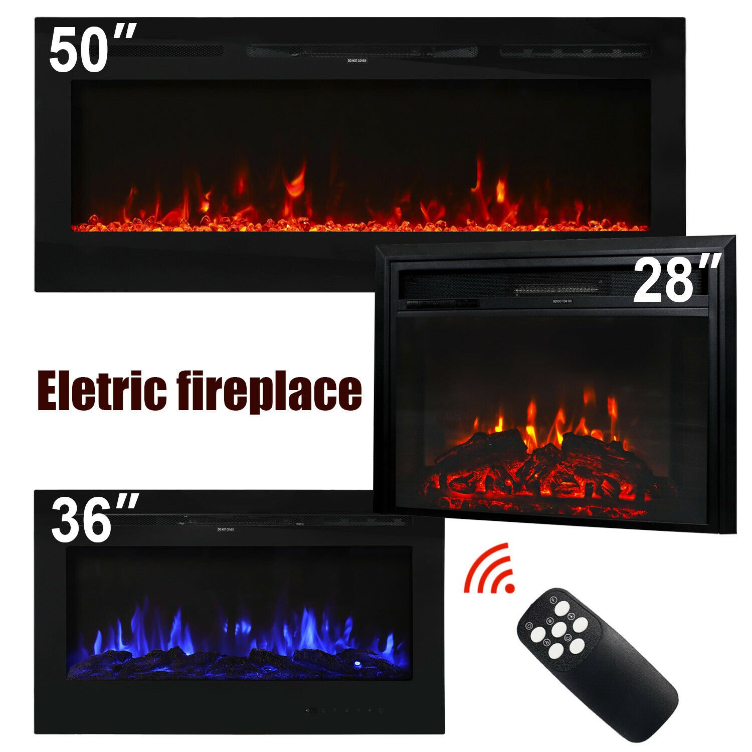 28 36 50 electric fireplace insert heater