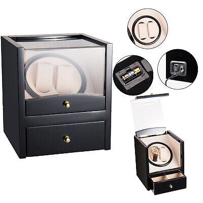 2+2 Dual Automatic Rotation Watch Winder Box Silent Motor Watch Luxury Storage...