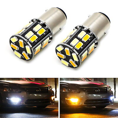 White/Amber Dual Color Switchback 1157 2357 S25 LED Bulbs For Front Turn Signal