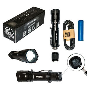 Watson T1000 USB Rechargable Tactical LED Flashlight Super Bright 800LM Adj Zoom