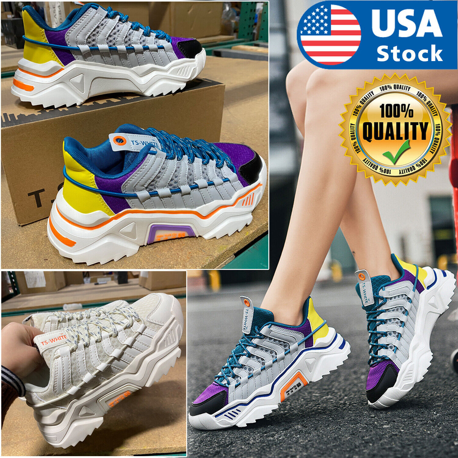 Women's Breathable Sneakers Walking Trainers Sports Running Tennis Shoes Lace Up Athletic Shoes