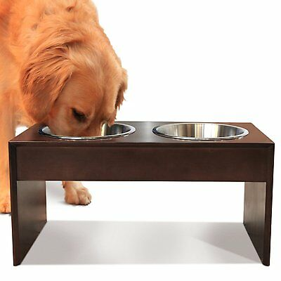 Dog Pet Feeder Food Water Bowl Holder Stand 10in Tall Stainless Steel Solid Wood