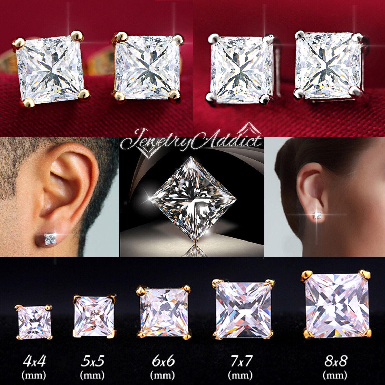 Jewellery - 18K GOLD GF 3mm-10mm MENS WOMEN KID CT SQUARE DIAMOND STUD EARRINGS EAR Piercing