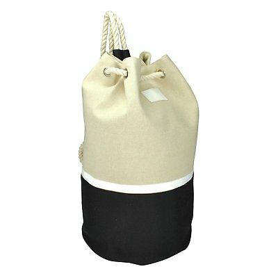 DALIX Large Rope Drawstring Backpack Carry Bag in Black Whit