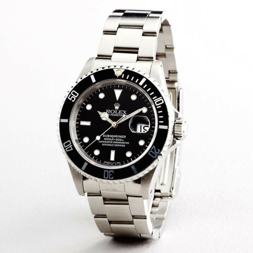 Mens Rolex Submariner Stainless Steel Watch Date Sub Black Dial & Bezel 16610