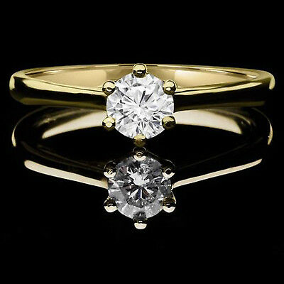 1.0 ct BRILLIANT Round CUT SOLITAIRE ENGAGEMENT RING REAL 14K Yellow GOLD