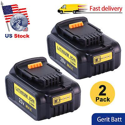 For Dewalt 20V Battery 3000mAH Max XR Replace DCB200 DCB201 DCB200 DCB181 2Packs