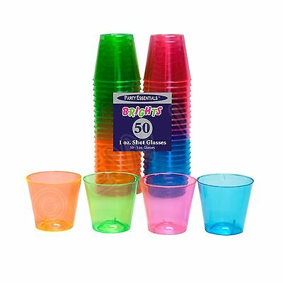 Party Essentials Hard Plastic 1 Ounce Shot Glasses  50 Count  Assorted Neon New