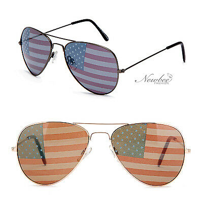 Aviators Sunglasses with Printed American Flag Lens America USA (Sunglasses With Printed Lenses)