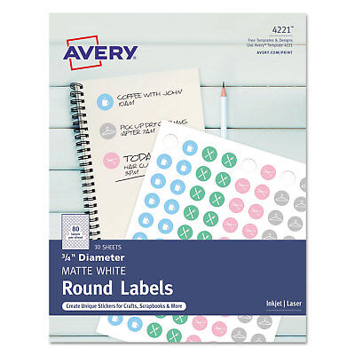 Avery Printable Self-adhesive Permanent 34 Round Id Labels 34 Dia. White 800