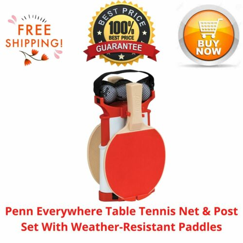 Penn Everywhere Table Tennis Net & Post Set With Weather-Resistant Paddles