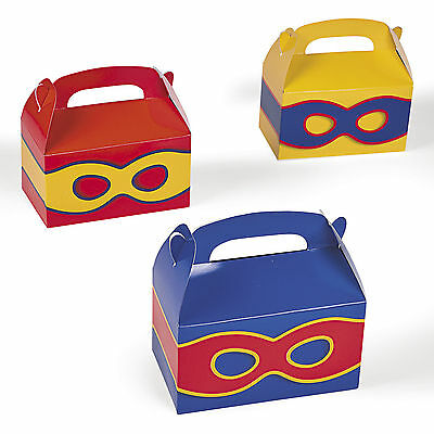 12 SUPERHERO  PARTY TREAT BOXES FAVORS GOODY BAG  PRIZE GIFT BASKET SUPER HERO - Superhero Goodie Bags
