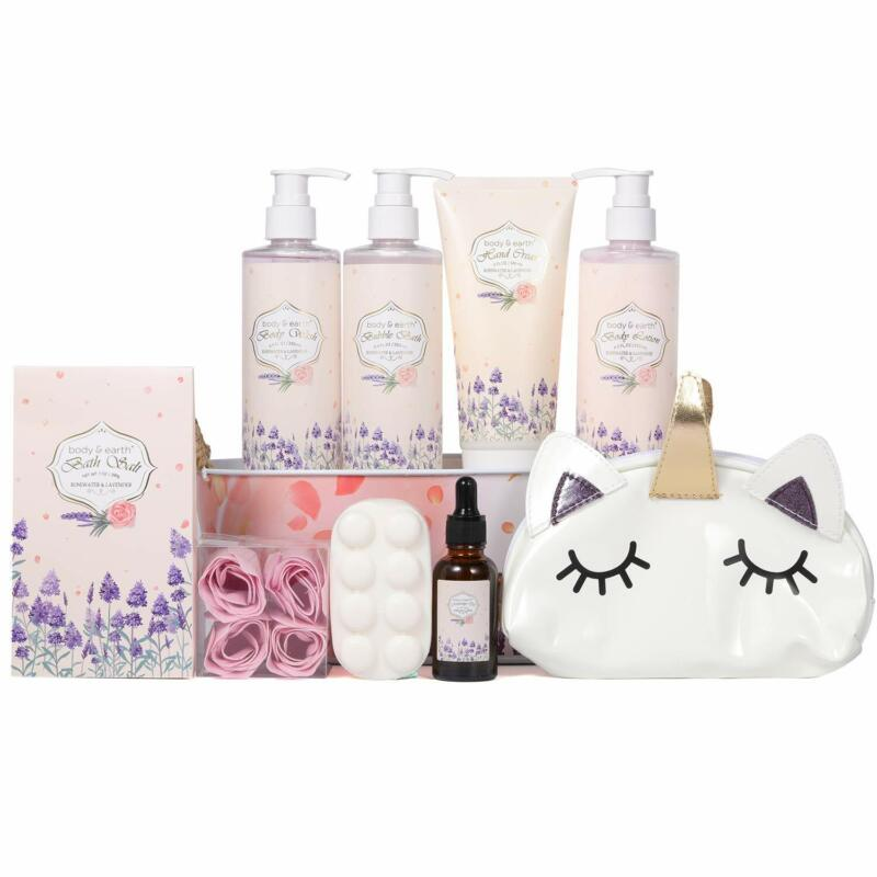 Spa Gift Basket in Rosewater & Lavender Scent, Bath & Body Set in Cosmetic Bag