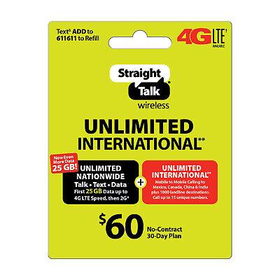 Straight Talk Rob International Refill Card Plan 30 Days Unlimited Talk Text