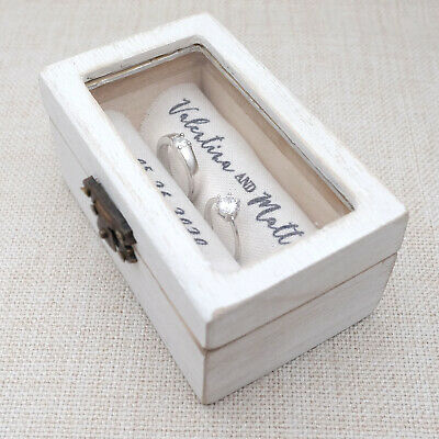 Personalised Ring Box, Ring Bearer Box, Custom Ring Holder, Rustic Wedding Box
