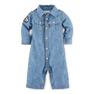 Ralph Lauren Baby Boys' Cotton Chambray Coverall One Piece Cotton Baby One Piece