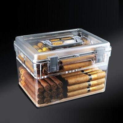 ABS Humidor Cigar Box w/ Humidifier Cigar Case Sealed Lock Cap LCD Hygrometer
