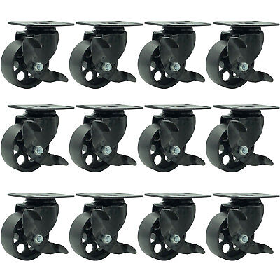 12 All Black Metal Swivel Plate Caster Wheels W Brake Heavy Duty 3 W Brake