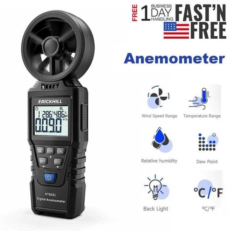LCD Digital Anemometer Wind Speed Meter Air Flow Gauge Temperature Thermometer