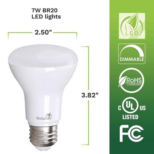20-pack Bioluz LED Br20 LED Bulb 7w  2700K Warm White 550 Lu