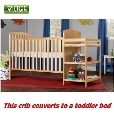 Full Size Crib With Changer Natural 2 In 1 Toddler Kid Bed Nursery Bedroom New!