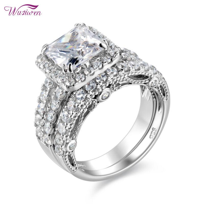 Wuziwen 4ct Princess Aaaa Cz Sterling Silver Wedding Engagement Ring Set Sz 4-13