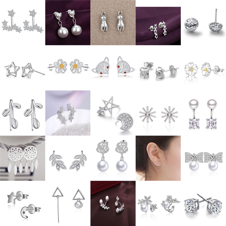 Jewellery - Women Fashion 925 Sterling Silver Plated Crystal Ear Stud Silver Earring Jewelry