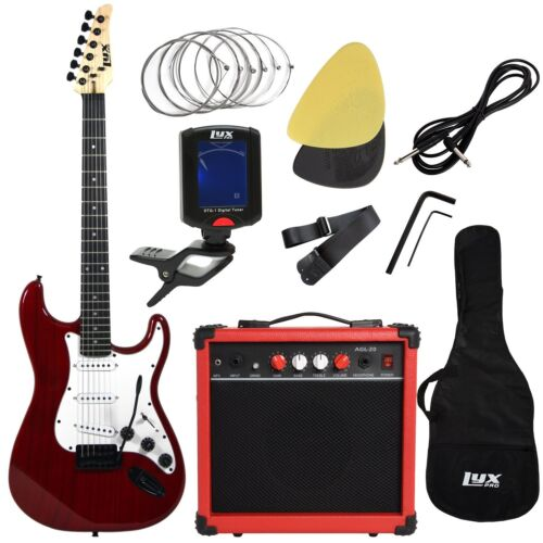 LyxPro Beginner Kits Electric Guitar with 20w Amp, Package I