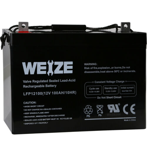 Weize 12V 100AH 100 Amp Hour Sealed AGM Deep Cycle SLA Batte
